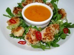 coconut prawns with mango coulis